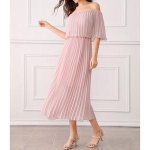 Dusty Pink Off Shoulder Ruffle Pleated Maxi Dress